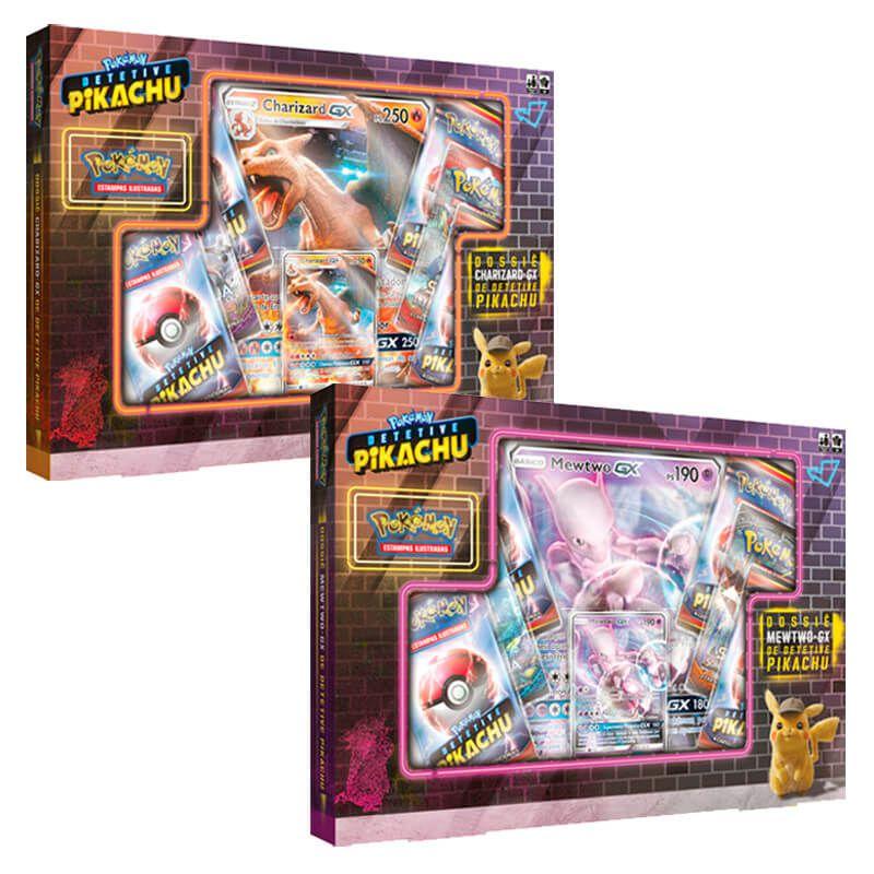 Pokémon TCG: Box Dossiê Charizard-GX + Mewtwo-GX de Detetive Pikachu