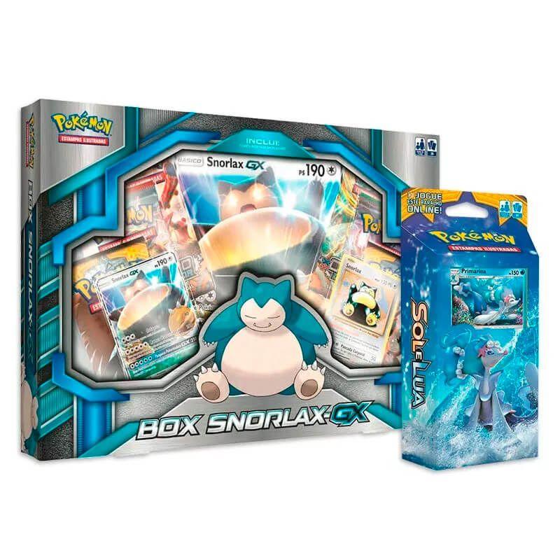Pokémon TCG: Box Snorlax-GX + Deck SM1 Sol e Lua - Maré Brilhante