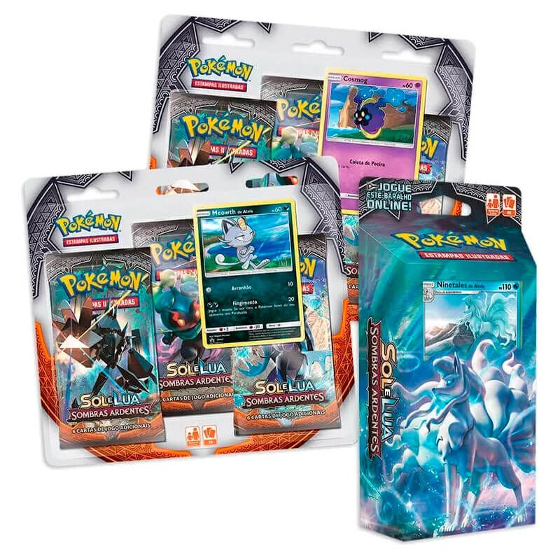 Pokémon TCG: Deck SM3 Sombras Ardentes - Geada Luminosa + Triple Packs Cosmog e Meowth de Alola