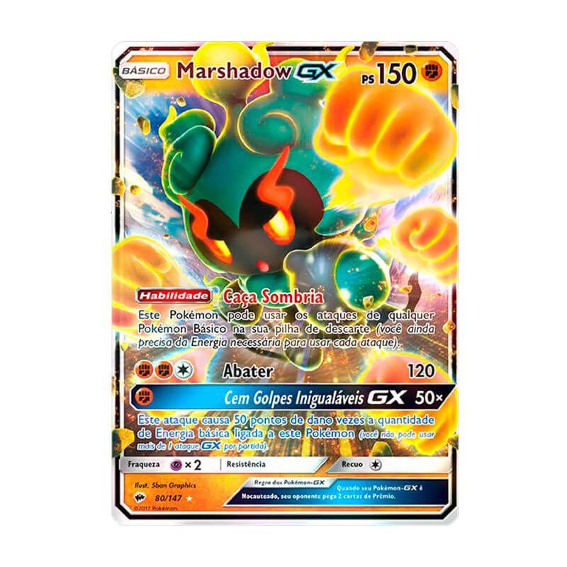 Pokémon TCG: Deck SM5 Ultra Prisma - Golpe Supersônico + Marshadow GX (80/147) - SM3 Sombras Ardentes