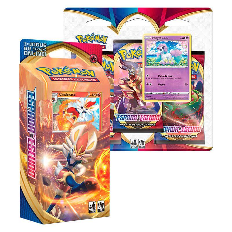 Pokémon TCG: Deck SWSH1 Espada e Escudo - Baralho Temático Cinderace + Triple Pack: Ponyta de Galar