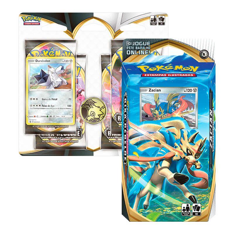 Pokémon TCG: Deck SWSH2 Rixa Rebelde - Baralho Temático Zacian + Quad Pack Duraludon