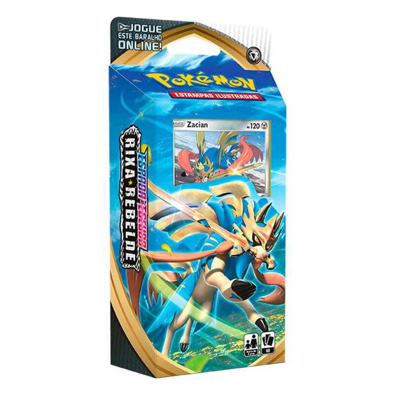 Pokémon TCG: Deck SWSH2 Rixa Rebelde - Baralho Temático Zacian + Quad Pack Rayquaza