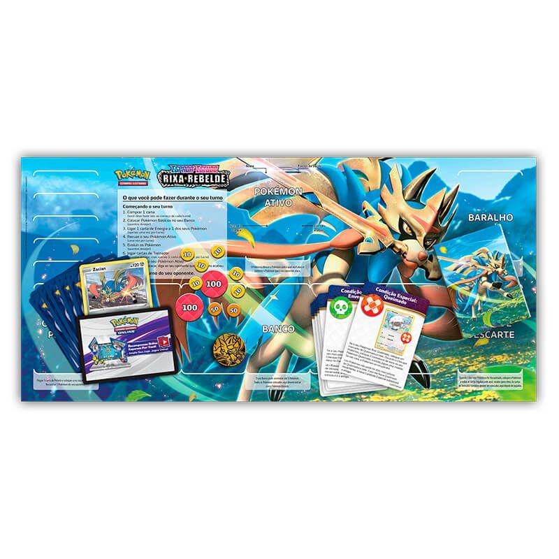 Pokémon TCG: Deck SWSH2 Rixa Rebelde - Baralho Temático Zacian + Triple Pack Mantine