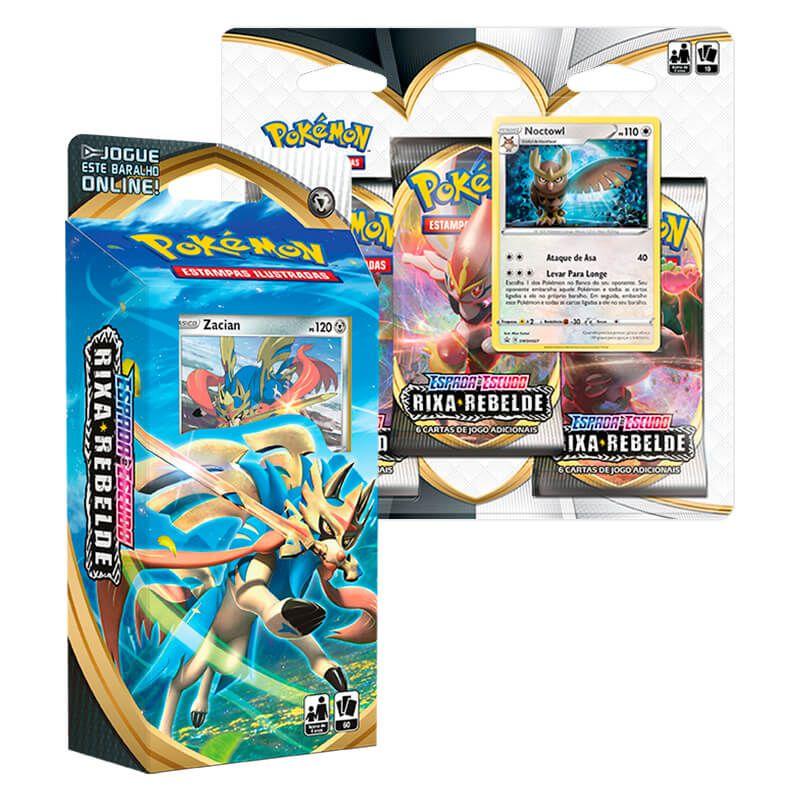 Pokémon TCG: Deck SWSH2 Rixa Rebelde - Baralho Temático Zacian + Triple Pack Noctowl