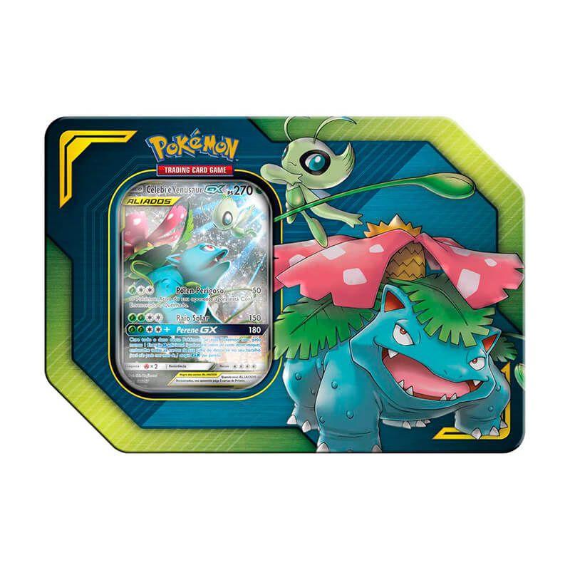 Pokémon TCG: Lata Colecionável Aliados - Celebi e Venusaur GX