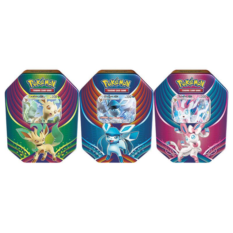 Pokémon TCG: Lata Colecionável Celebração de Evolução - Leafeon GX + Glaceon GX + Sylveon GX