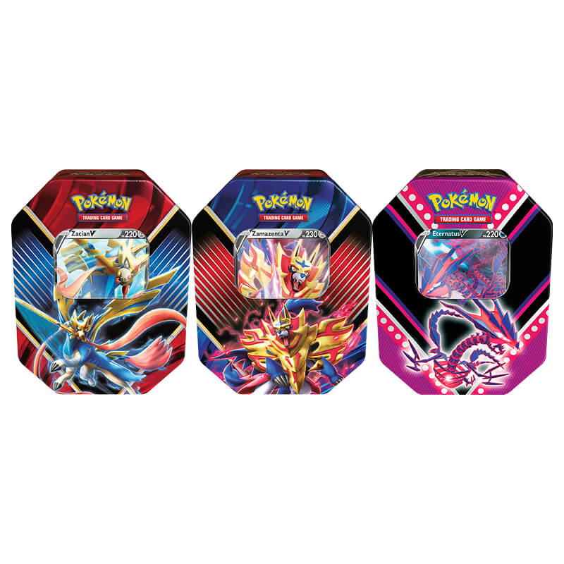 Pokémon TCG: Lata Colecionável Lendas de Galar - Zacian V + Zamazenta V + Lata Colecionável Poderes V - Eternatus V