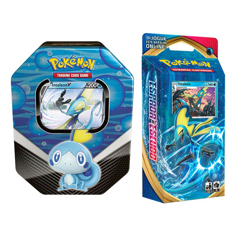 Pokémon TCG: Lata Colecionável Parceiros de Galar - Inteleon V + Baralho Temático Inteleon