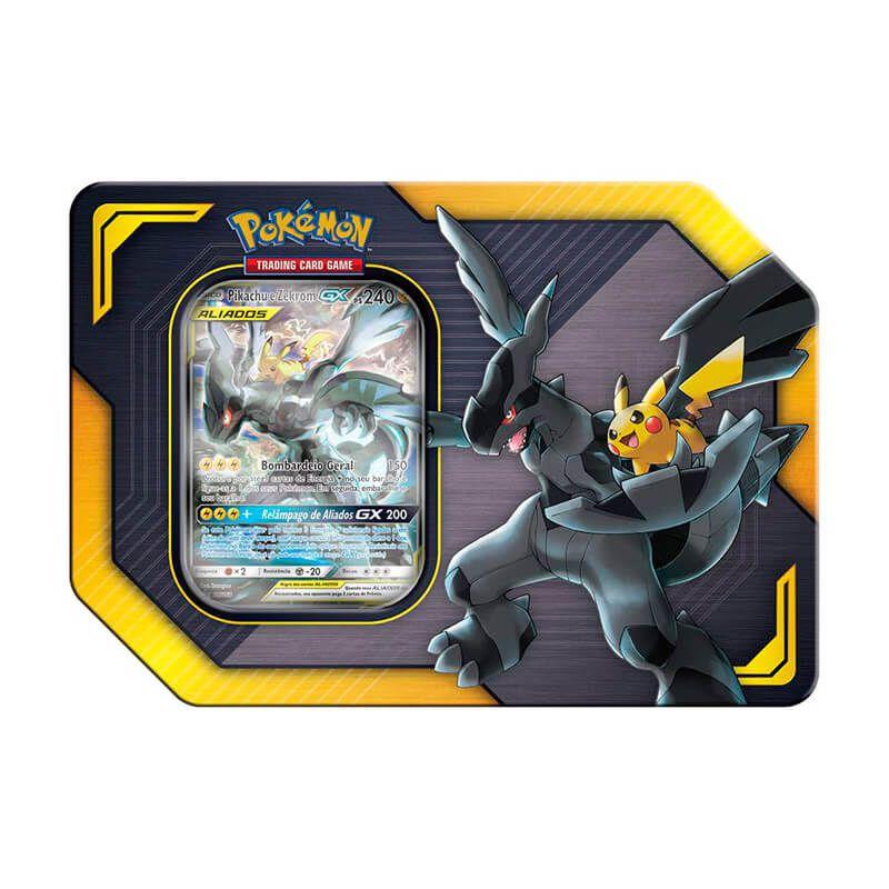 Pokémon TCG: Latas Colecionáveis Aliados - Celebi e Venusaur GX + Pikachu e Zekrom GX + Eevee e Snorlax GX