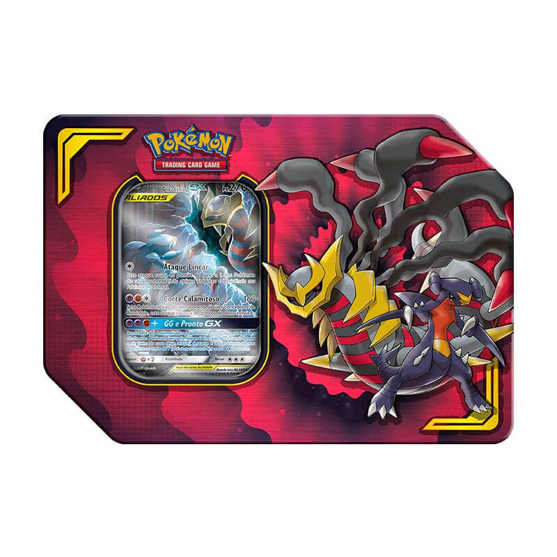 Pokémon TCG: Latas Colecionáveis Parceria Poderosa - Garchomp e Giratina GX + Lucario e Melmetal GX