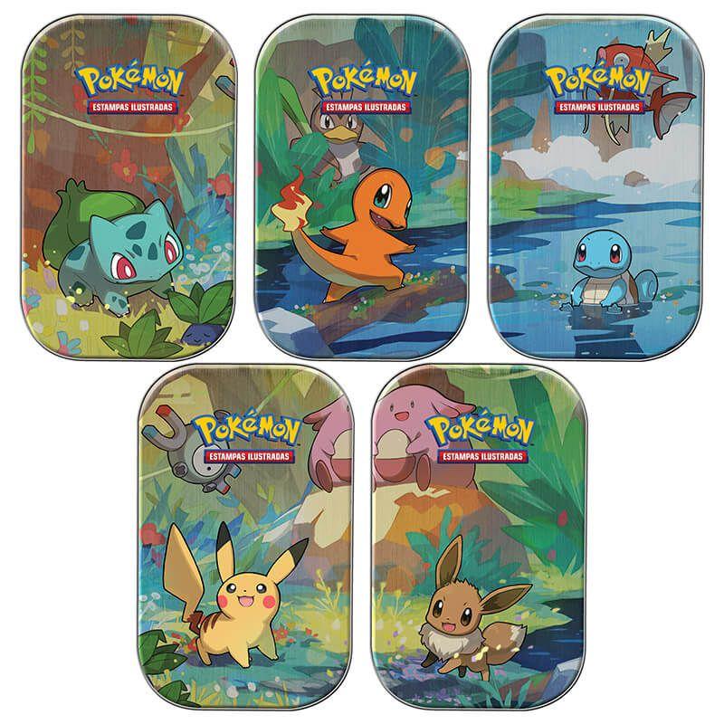 Pokémon TCG: Mini Latas Amigos de Kanto - Bulbasaur + Charmander + Squirtle + Pikachu + Eevee