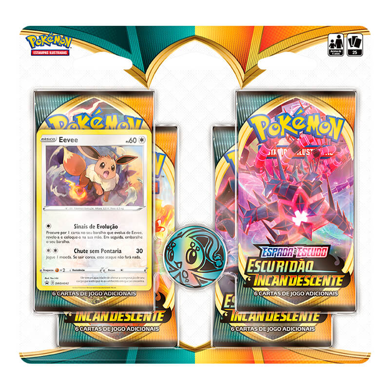 Pokémon TCG: Quad Pack SWSH3 Escuridão Incandescente - Eevee