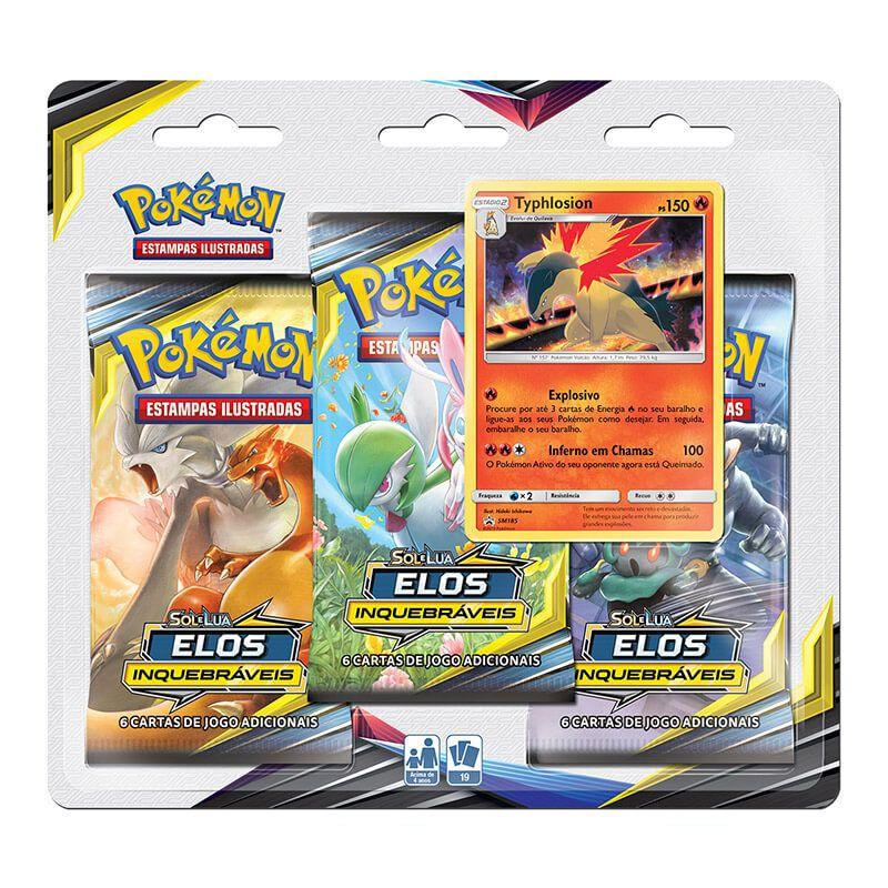 Pokémon TCG: Triple Pack SM10 Elos Inquebráveis - Typhlosion
