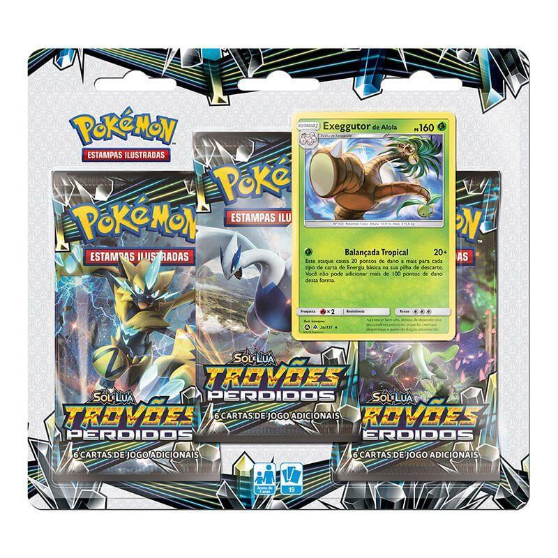 Pokémon TCG: Triple Pack SM8 Trovões Perdidos - Exeggutor de Alola