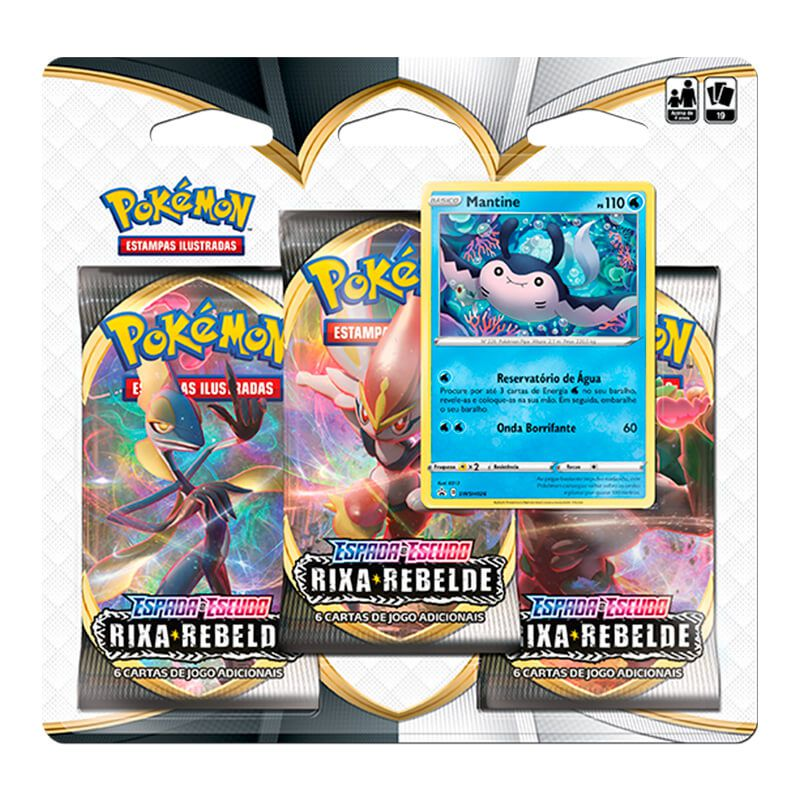 Pokémon TCG: Triple Pack SWSH2 Rixa Rebelde - Mantine