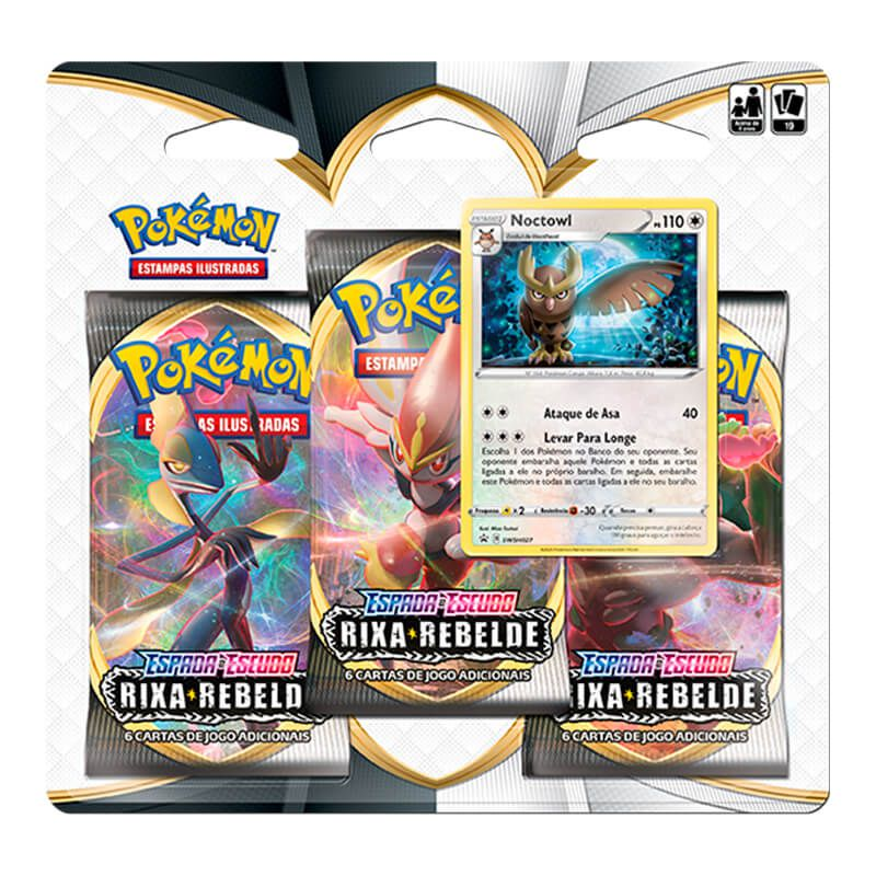 Pokémon TCG: Triple Pack SWSH2 Rixa Rebelde - Noctowl