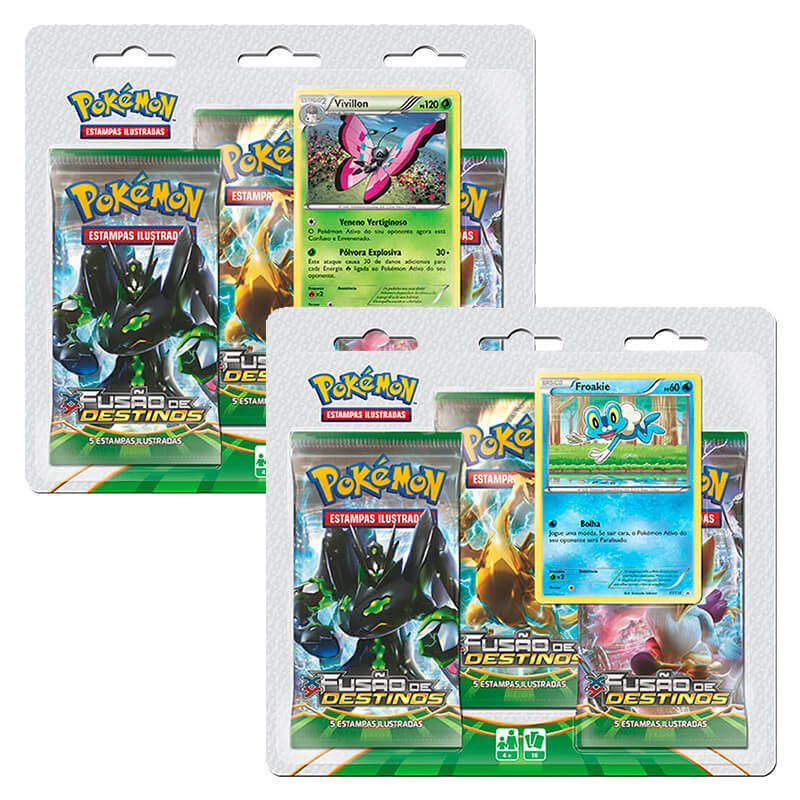 Pokémon TCG: Triple Pack XY10 Fusão de Destinos - Vivillon + Froakie