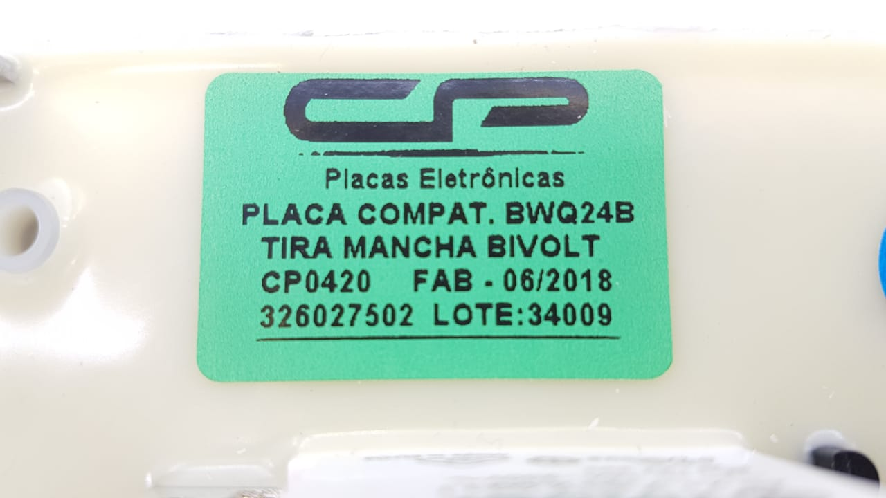 Placa Compatível Lavadora Bwq24b Bwq22d Brastemp Tira Mancha Bivolt Cp0420