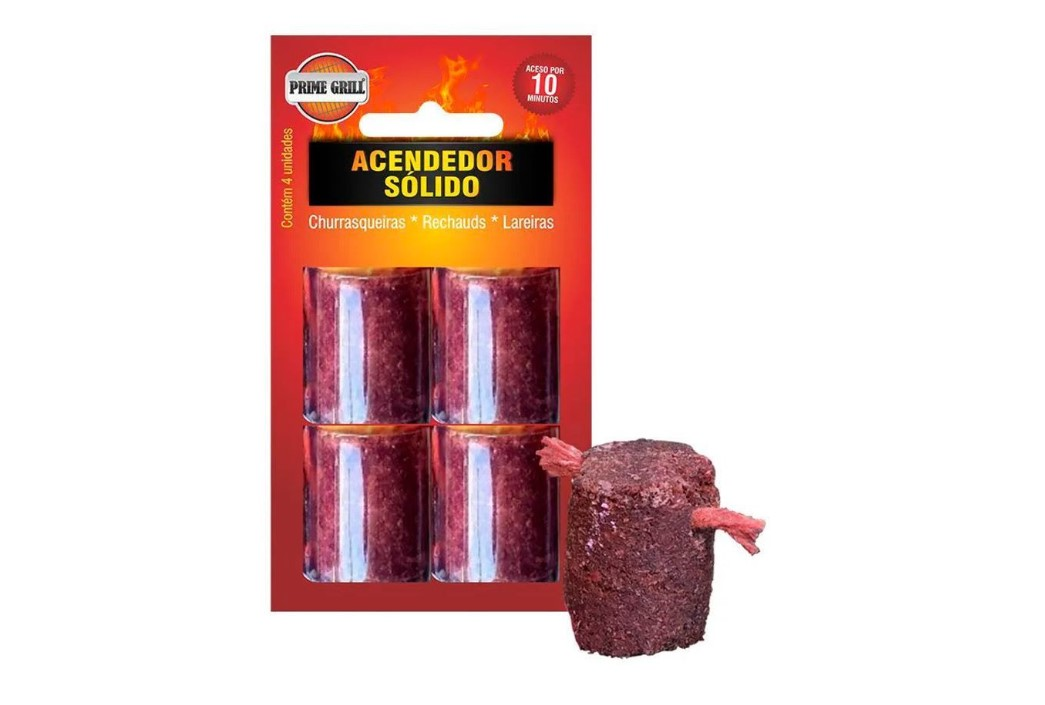 ACENDEDOR SOLIDO BLISTER C/ 04 - PRIME GRILL