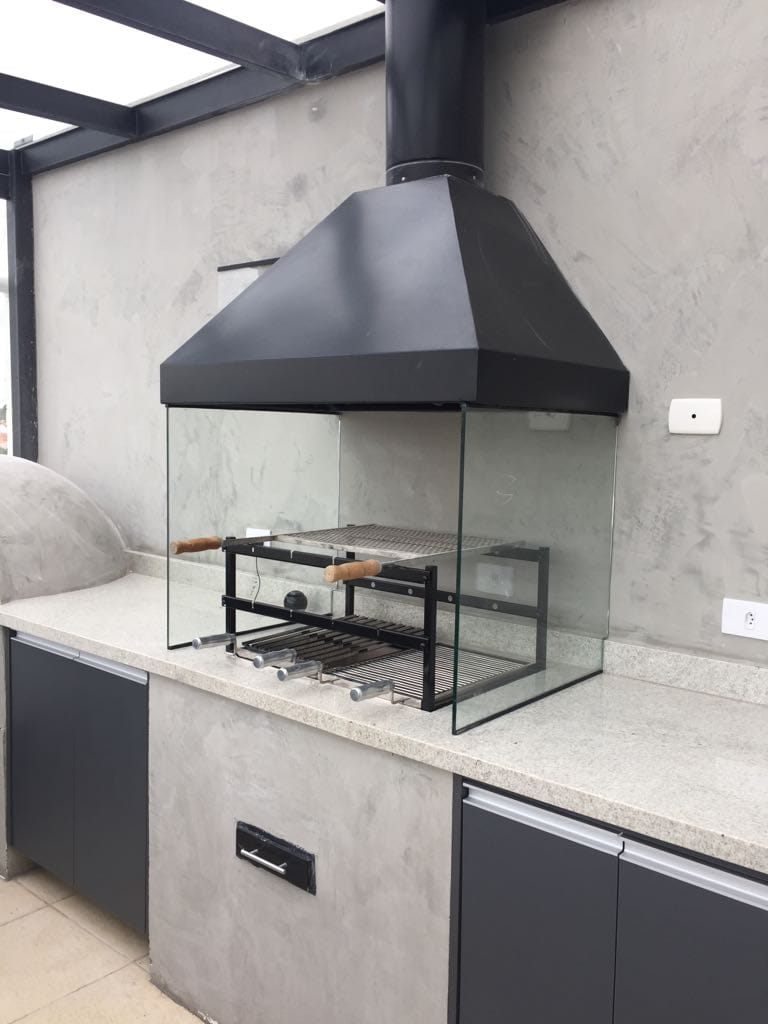 Braseiro Cooktop inox 430 Para Churrasqueira   70 X 50cm