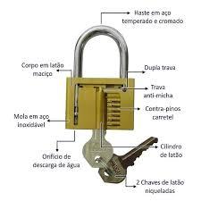 Cadeado Latão Maciço 50 Mm - Gold