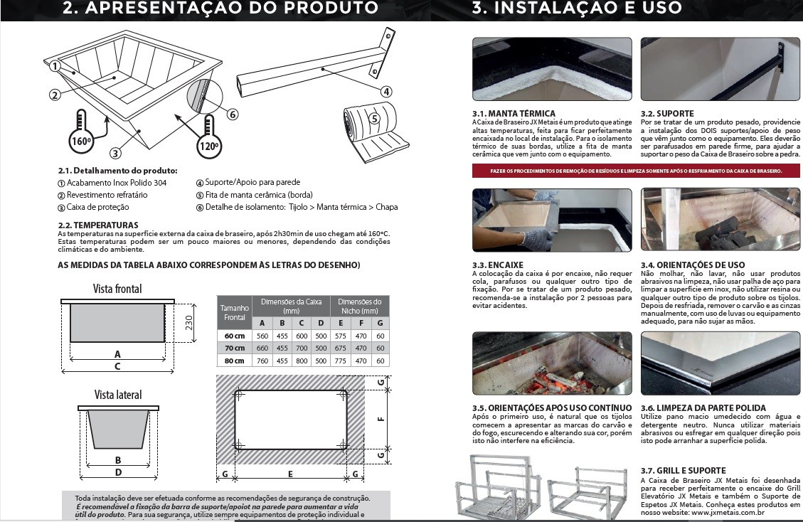 Caixa Braseiro Cooktop Refrataria 70x50 Inox/aço Carbono Jx Metais