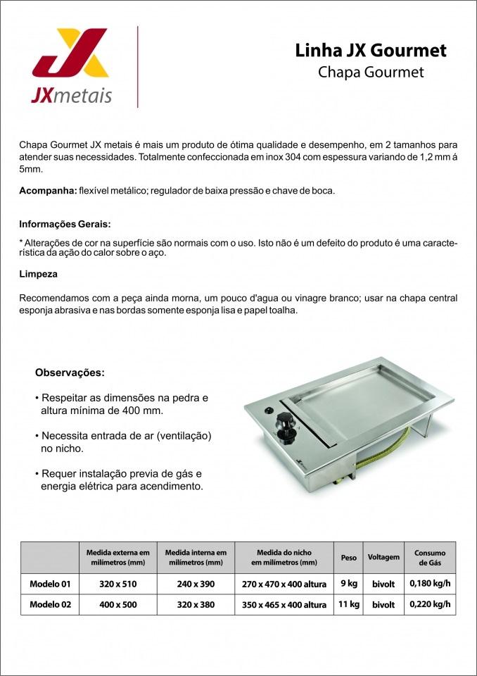 Chapa Lanches Embutir Gás GLP 32x51 Inox 304  Jx Metais