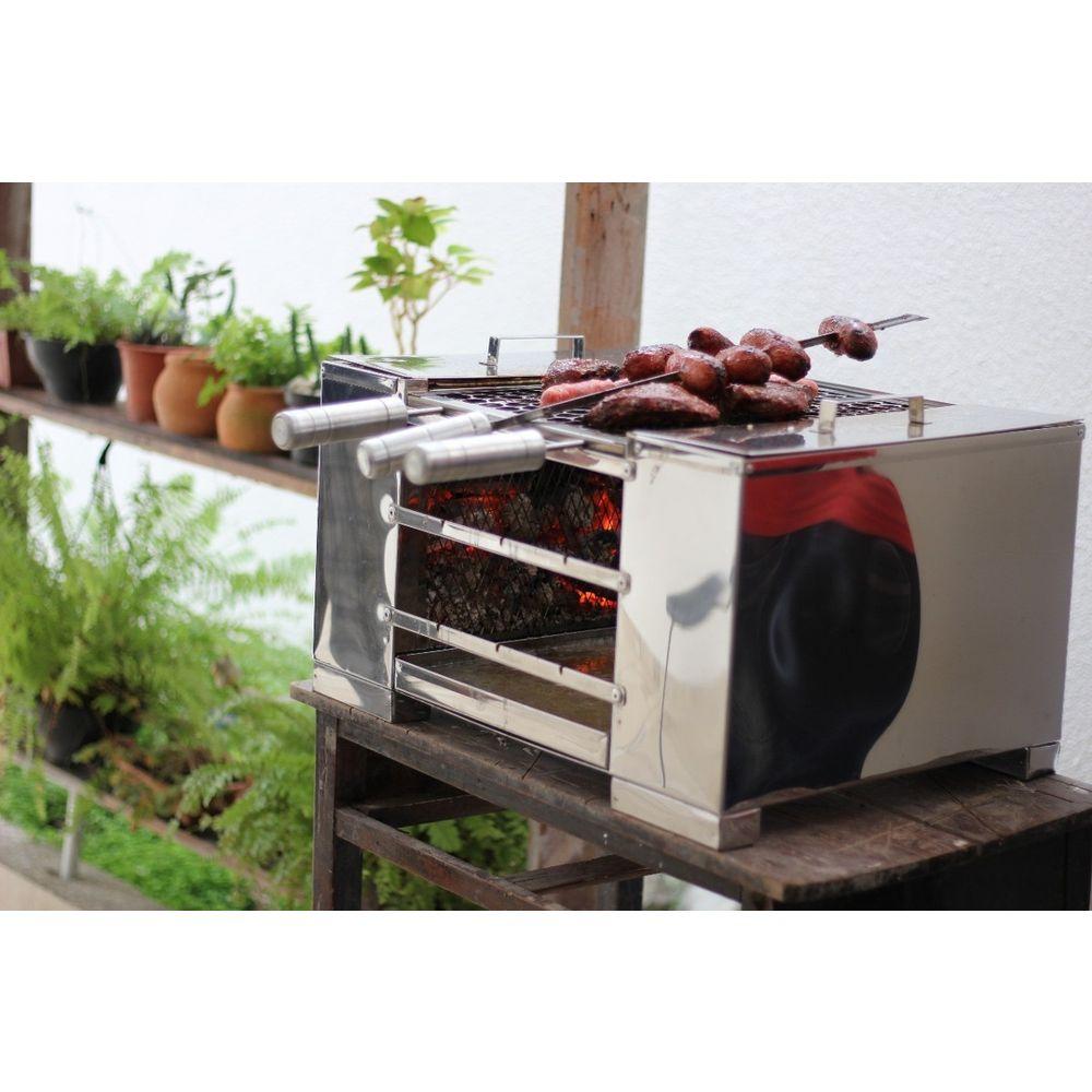 Churrasqueira ecológica à carvão sem fumaça em aço Inox super resistente - MED 57X40CM