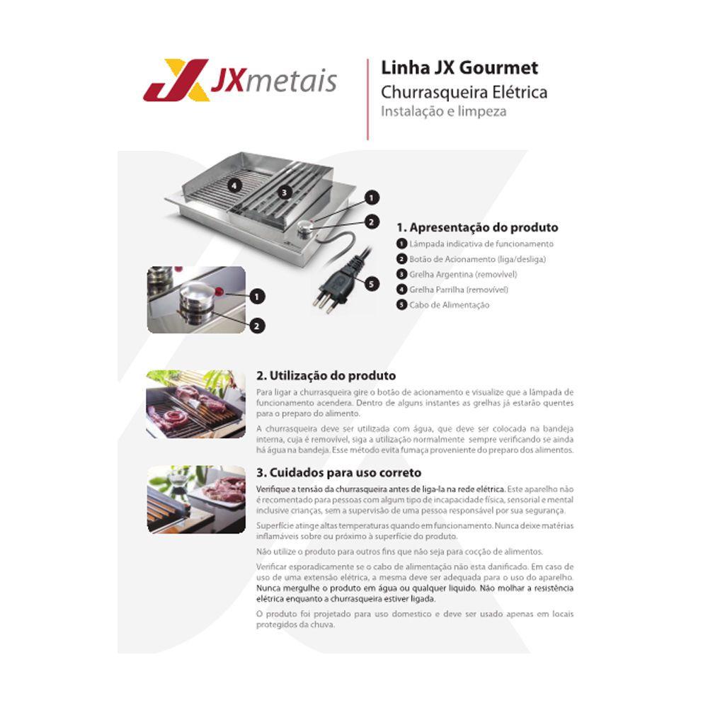 Churrasqueira Eletrica Inox 304 PARRILA 40x47 - 220v - JX METAIS