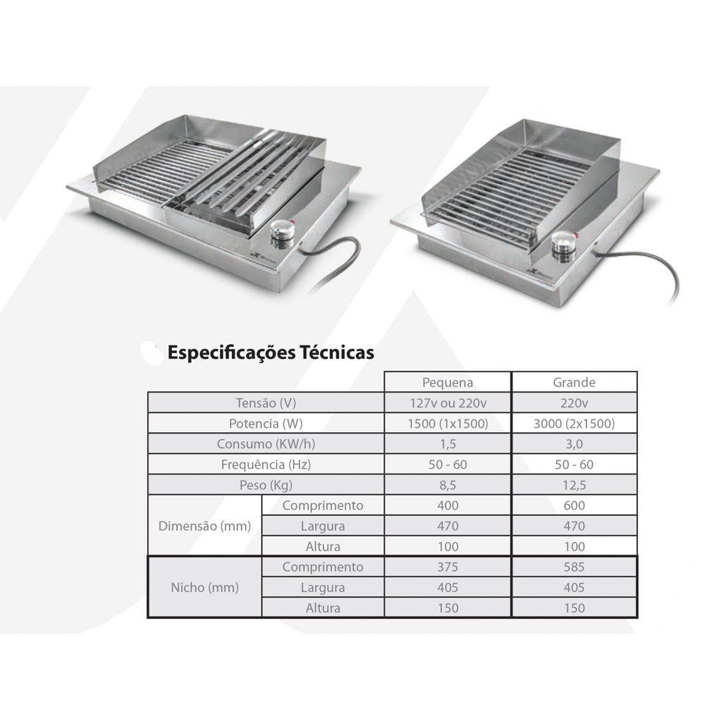 Churrasqueira Elétrica Jx Metais Embutir 60x47 2grelhas 220v Inox