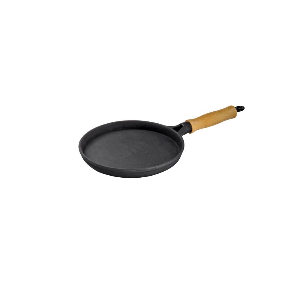 Frigideira Ferro Cabo Madeira Para Tapioca Ou Omelete 18cm