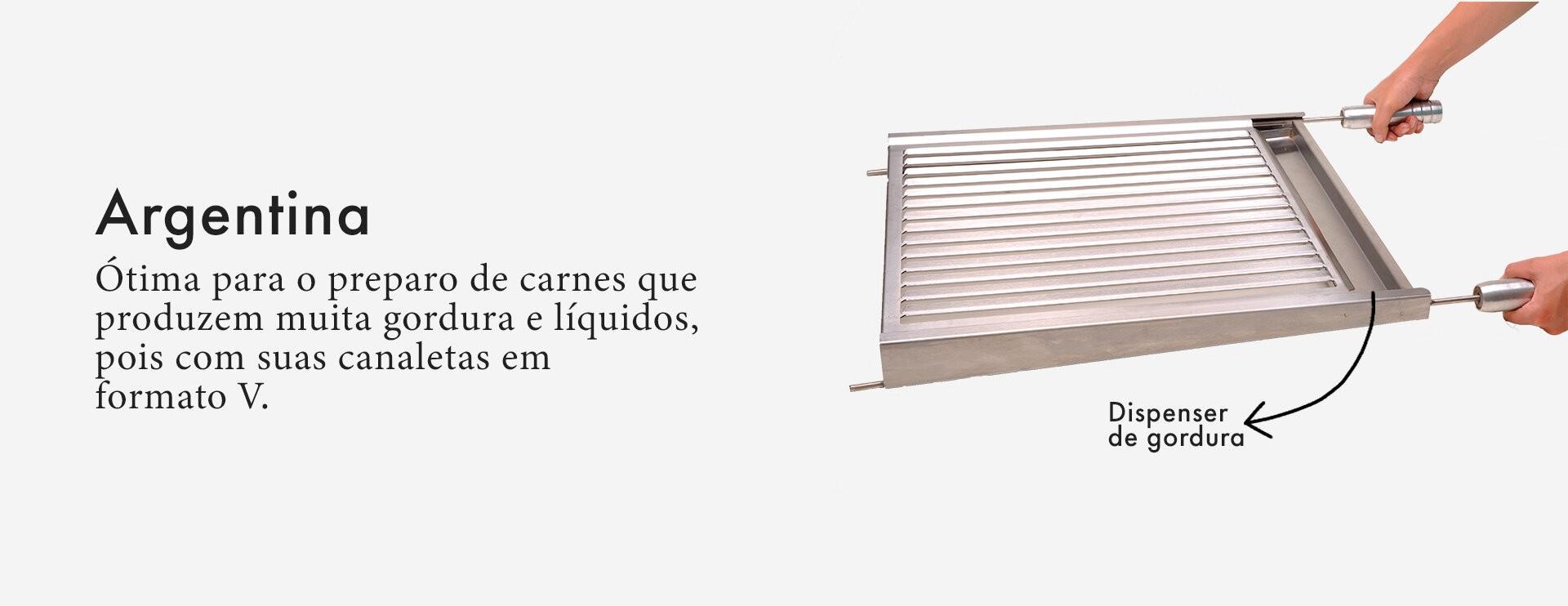 Grelha argentina aço inox Med. 50x50cm - Selmetal