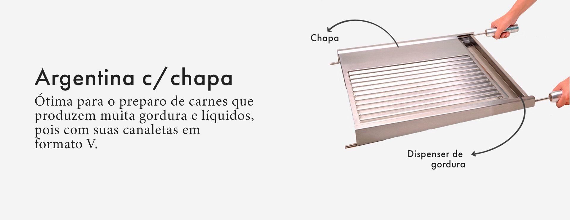 Grelha Gourmet Argentina para Churrasco com Chapa Inox 50 x 50cm-SELMETAL