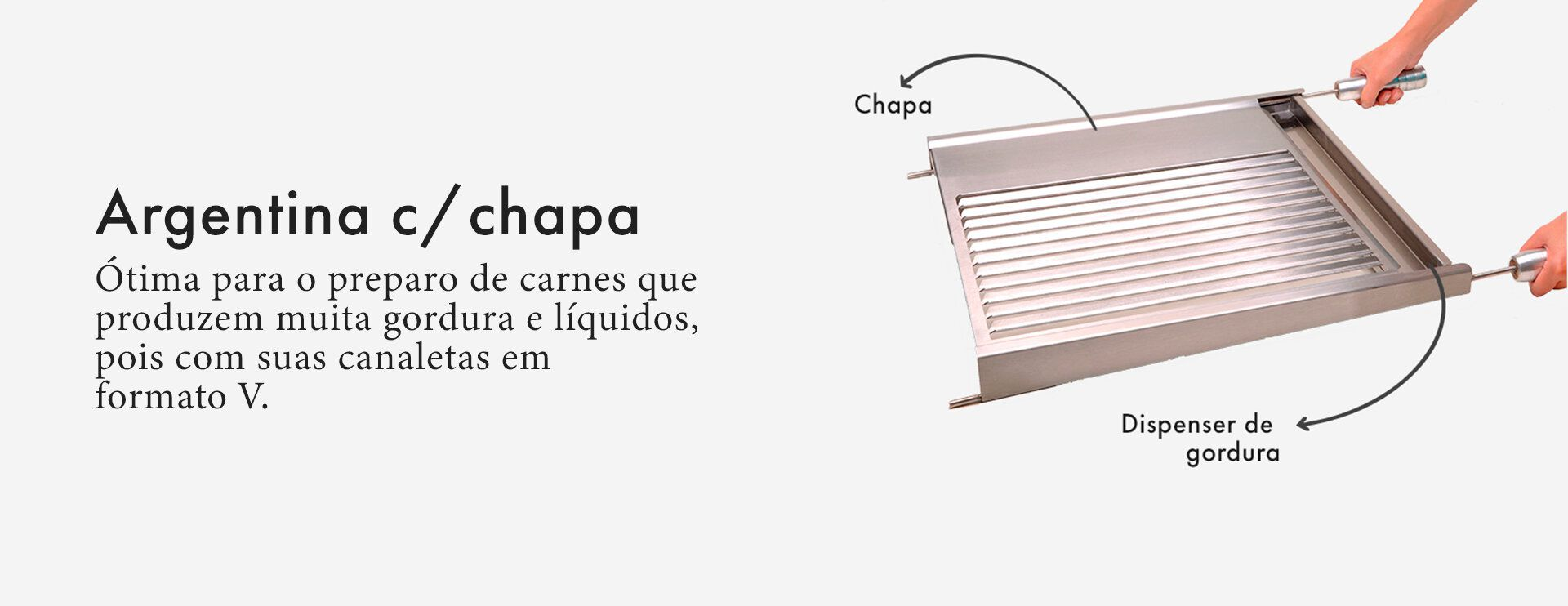 Grelha Gourmet Argentina para Churrasco com Chapa Inox 60 x 50cm-SELMETAL