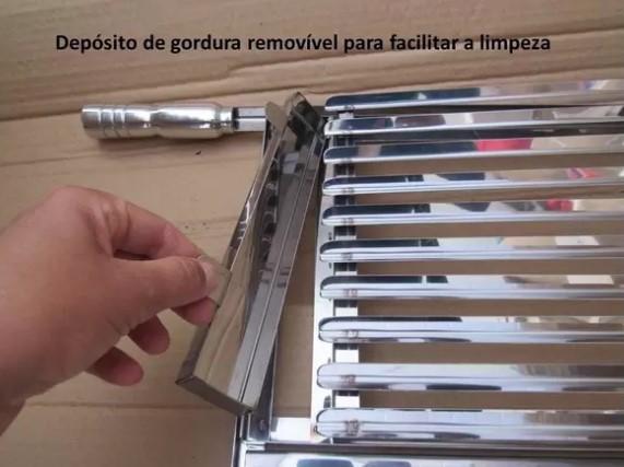 GRELHA PARA CHURRASCO MEIO ARGENTINA MEIO MOEDA EM INOX - 60 X 49
