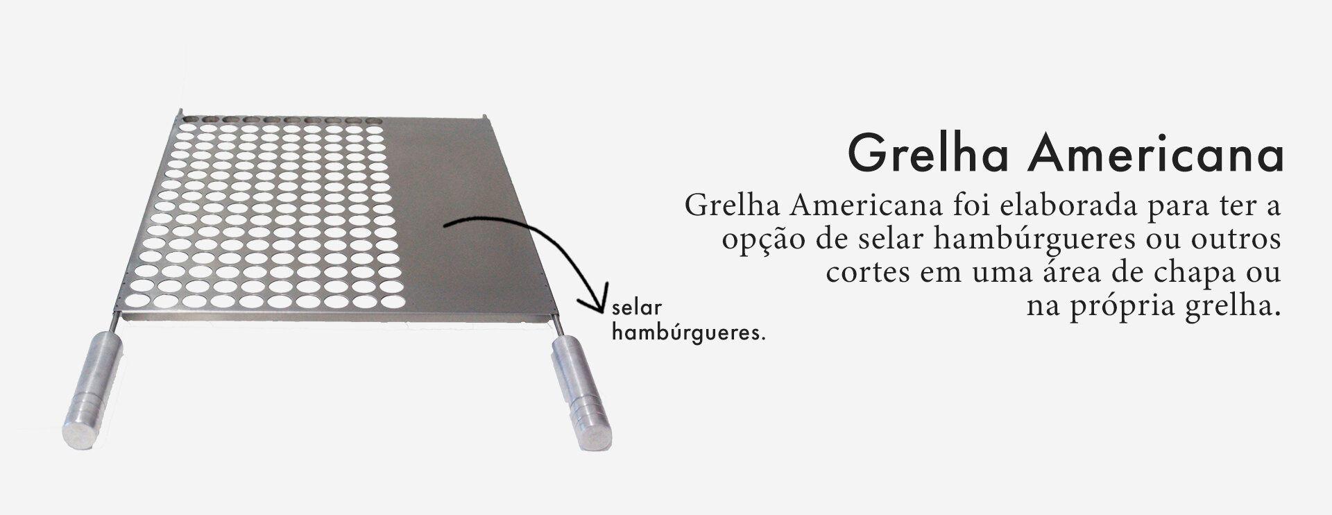 Grelha para churrasco Modelo Americana Com Chapa 60 X 50 Cm Selmetal