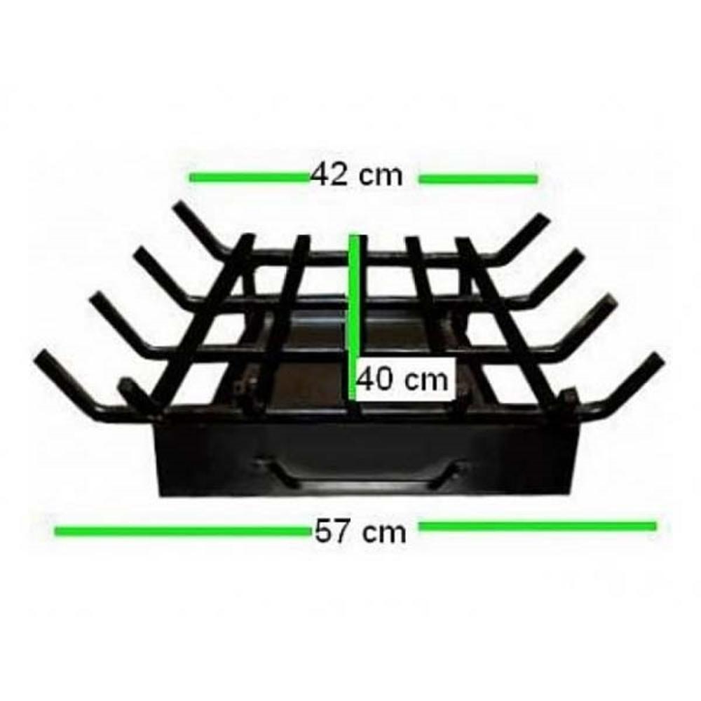 Grelha Para Lareira Em Ferro Modelo Trapézio 58x40cm