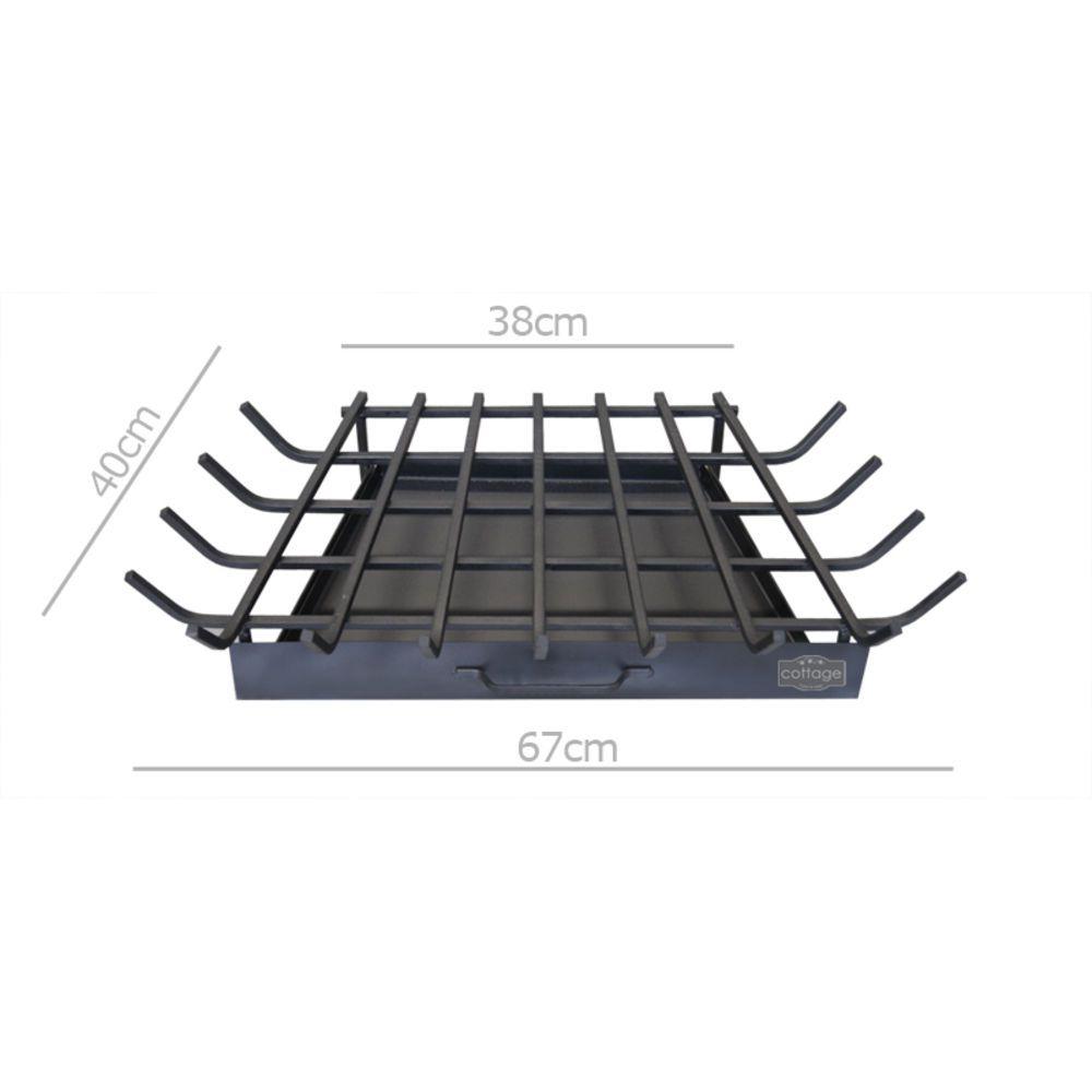 Grelha Para Lareira Em Ferro Modelo Trapézio G 68x40cm
