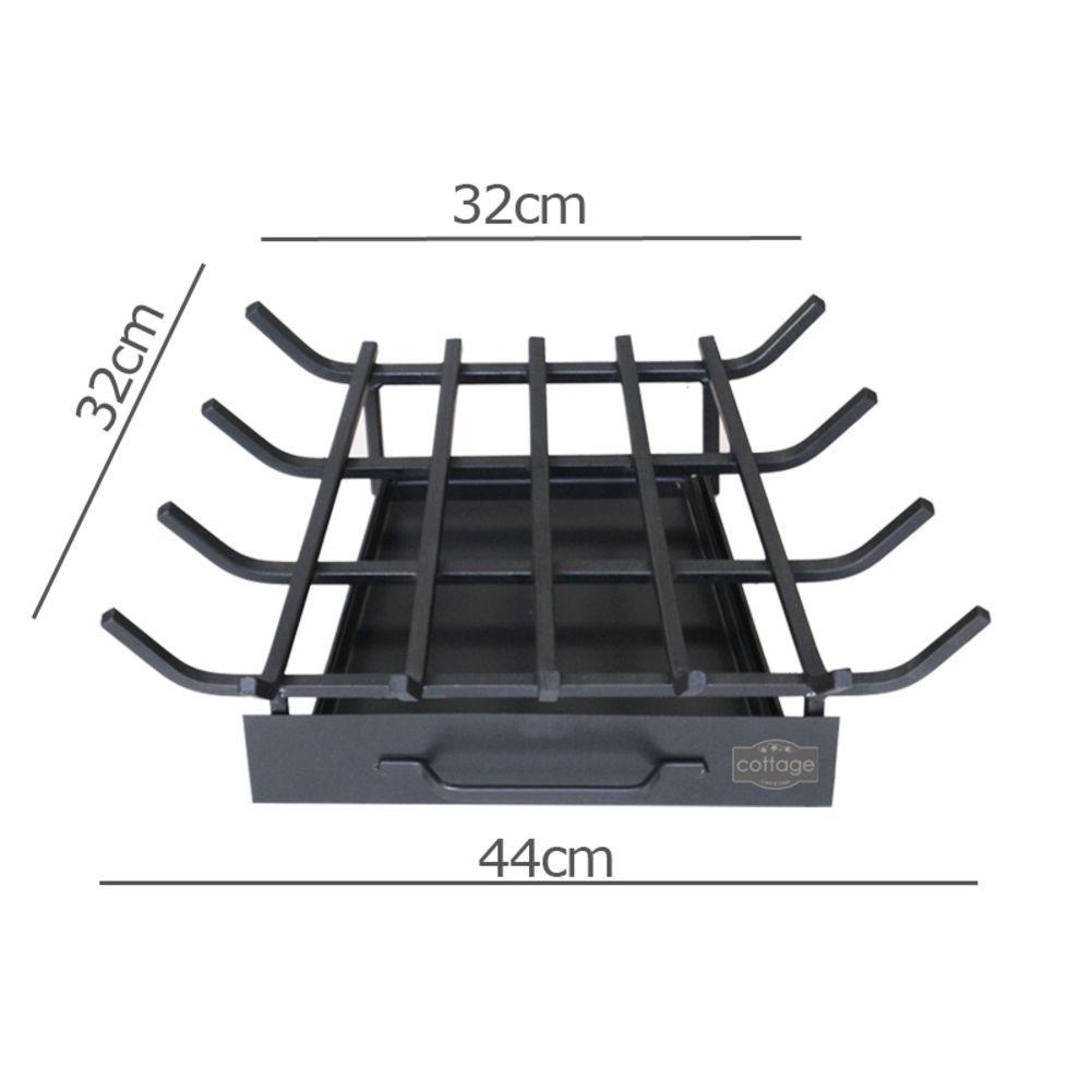 Grelha Para Lareira Em Ferro Modelo Trapézio P 44x32cm