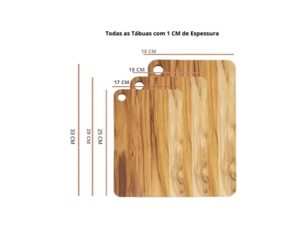 KIT 3 TABUAS COM SUPORTE DE METAL MADEIRA TECA - STOLF