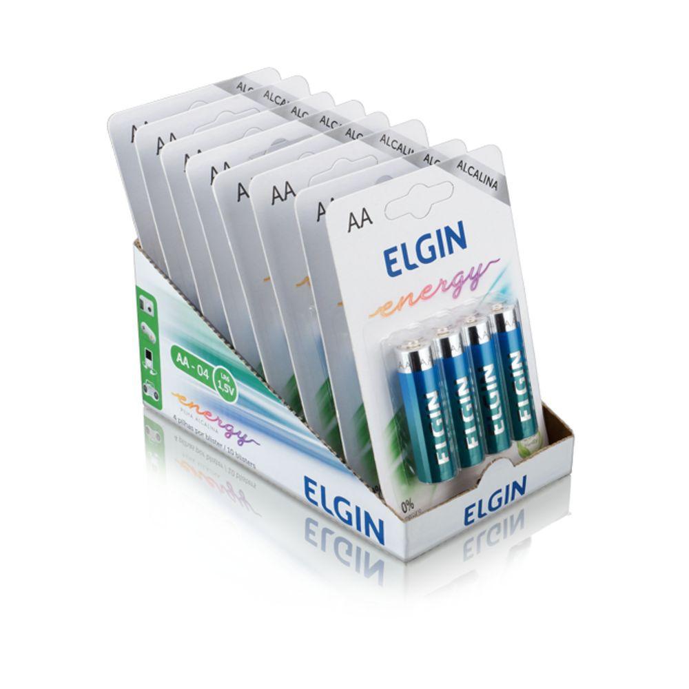 Kit 40 Pilhas Alcalina AA Cartela com 4 unidades - Elgin
