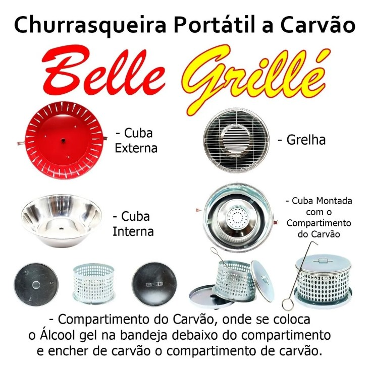KIT CHURRASQUEIRA PORTATIL BELLE GRILLÉ + CARVÃO PARA CHURRASQUEIRA ECOLÓGICA PACOTE 0,95GRS