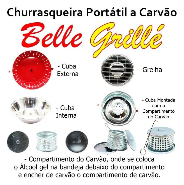 KIT CHURRASQUEIRA PORTATIL BELLE GRILLÉ + CARVÃO PARA CHURRASQUEIRA ECOLÓGICA PACOTE 2,9KG