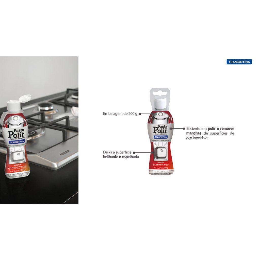 Kit Limpa Inox - Spray Tramontina Super Inox 300 ml + Pasta Polidora Para Limpar E Polir Inox Abrasiva Tramontina