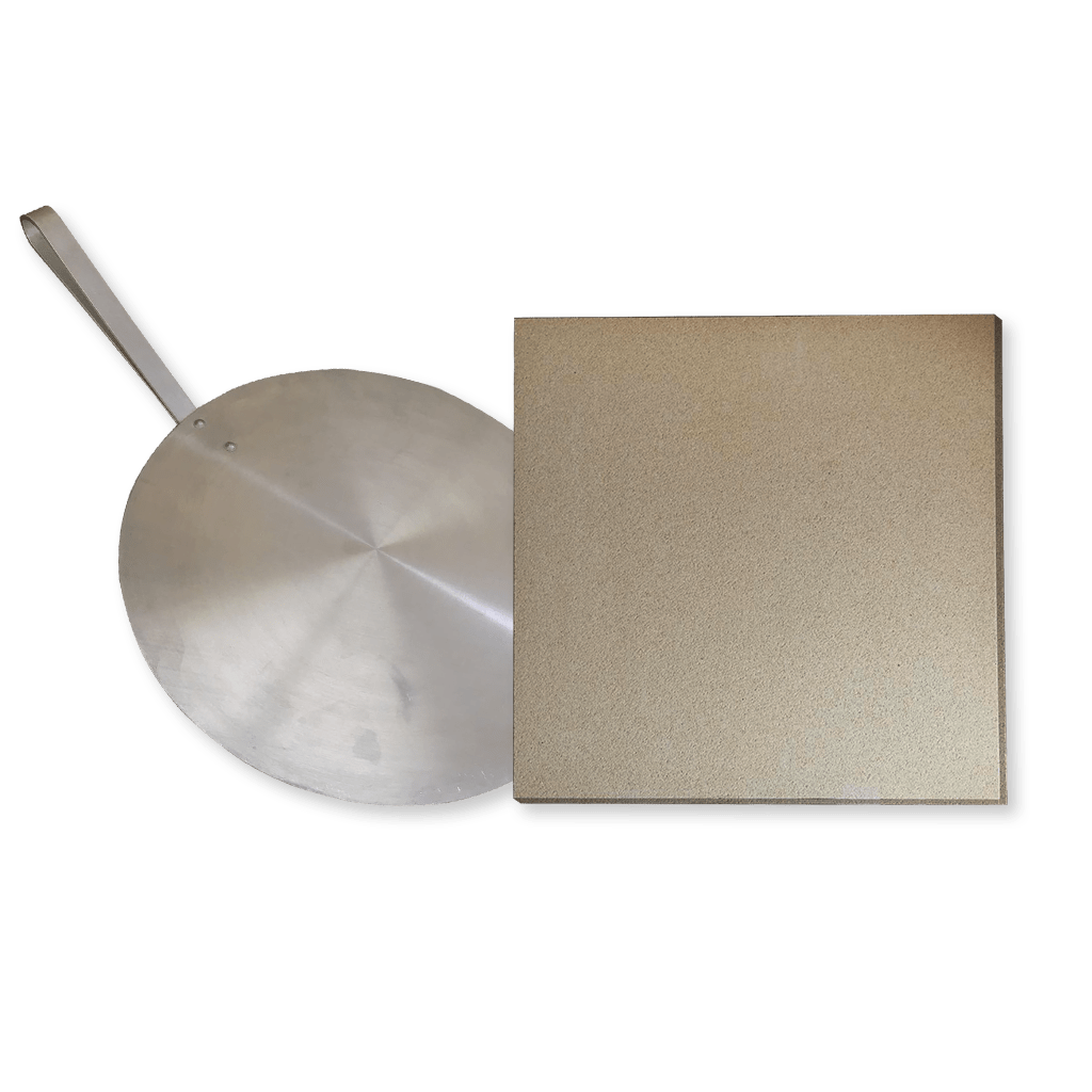 Kit pizza para churrasqueira e Forno, Pá e Pedra refrataria 35x35cm