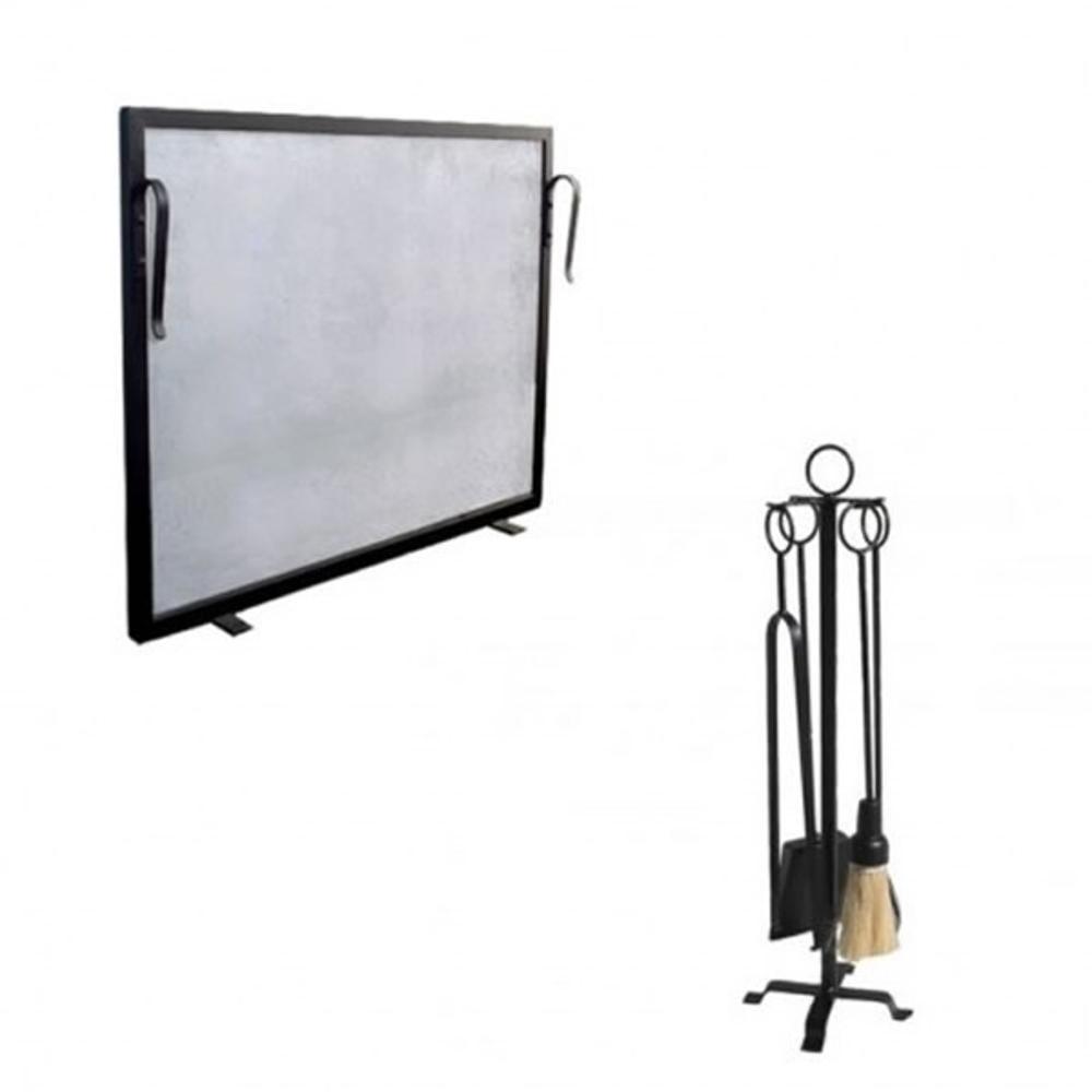 Kit Tela Para Lareira Em Ferro 70x50cm + Conjunto Para Limpeza Argola Preto
