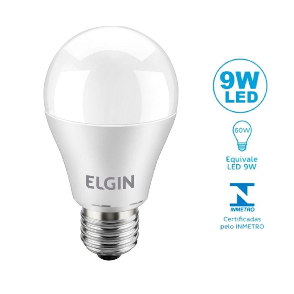 Lâmpada De Led Bulbo E27 9w 6500k Bivolt Inmetro Elgin