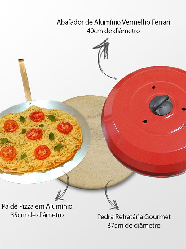 Pedra para pizza na churrasqueira 38cm - Preto