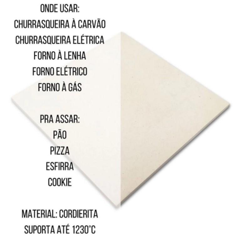 Pedra Refrataria para pizza na churrasqueira e Forno, 35x35cm